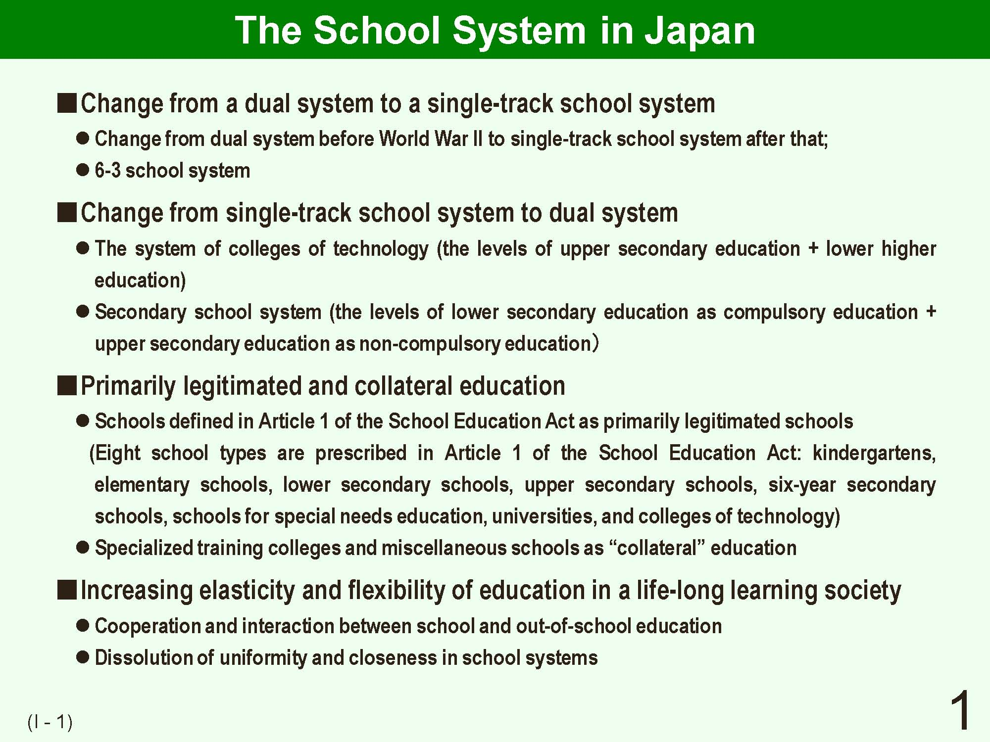 1 i outline of japanese school system